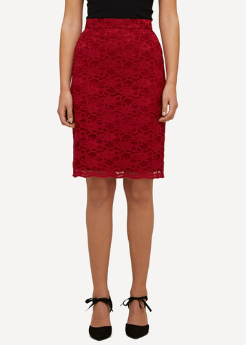 Lea Oleana Short Lace Skirt, 85R Red