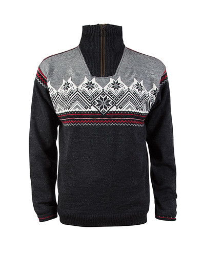 Dale of Norway Glittertind Windstopper Sweater, Mens - Dark Charcoal/Raspberry/Black/Off White, 92881-E