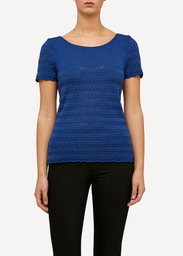 Molly Oleana Short Sleeve Top with Lace Pattern, 309F Dark Blue