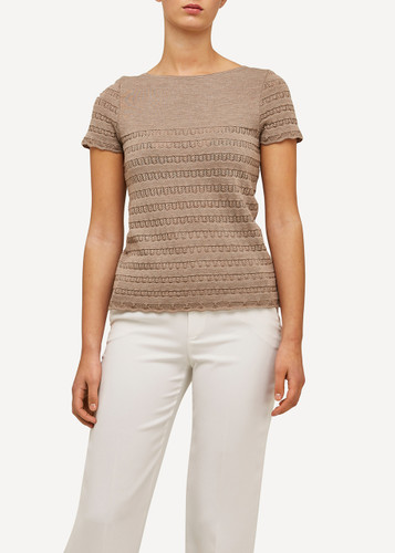 Molly Oleana Short Sleeve Top with Lace Pattern, 309B Beige/Light Grey