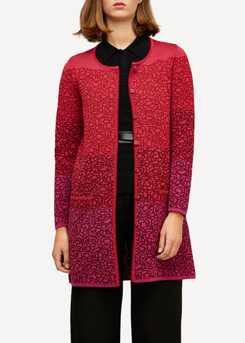 Ella Oleana Long Length Cardigan with Pockets, 316R Red