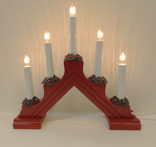 Swedish Welcome 5 Light Candelabra - Red