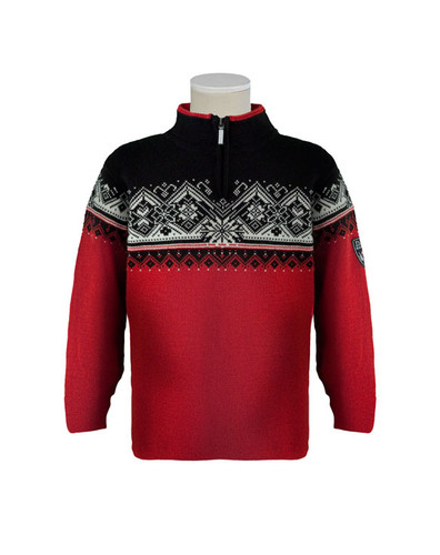 Dale of Norway St. Moritz Pullover, Childrens - Raspberry/Black/Off White, 9150-B