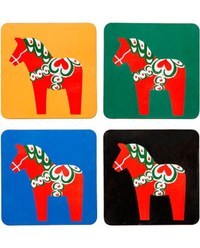 Sagaform - Sweden Dala Horse Costers, 4-pack
