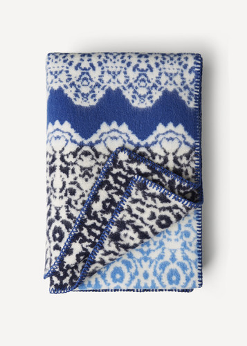 Fredrika Oleana Blanket in a Lace Pattern with Contrast Stripe, 214FQ Blue