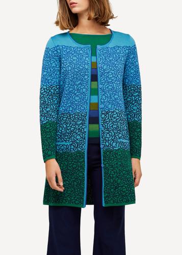 Ella Oleana Long Length Cardigan with Pockets, 316G Green