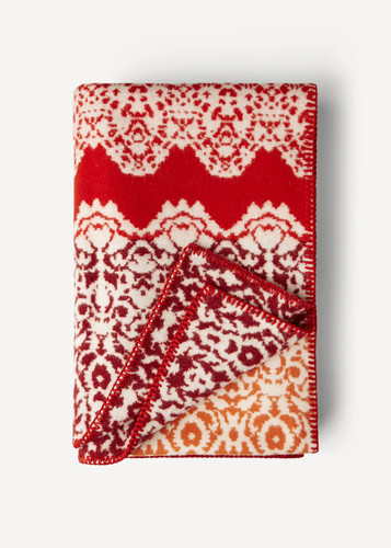 Fredrika Oleana Blanket in a Lace Pattern with Contrast Stripe, 214RV Coral