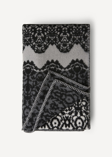 Fredrika Oleana Blanket in a Lace Pattern with Contrast Stripe, 214D Grey