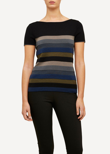 Juliette Oleana Short Sleeve Top with Wide Stripes, 310O Black/Grey