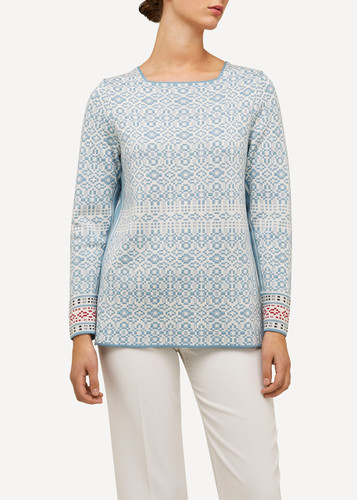 Hanne Oleana Medium Length Tonal Pullover, 326Q Light Blue