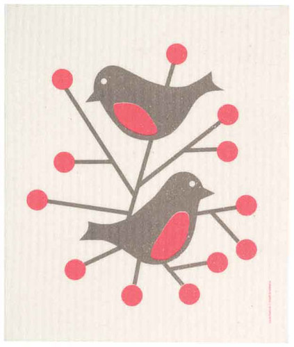 Swedish Dishcloth - Birds, Red