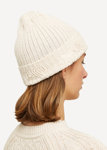 Linnea Oleana Textured Knitted Hat, 423A White