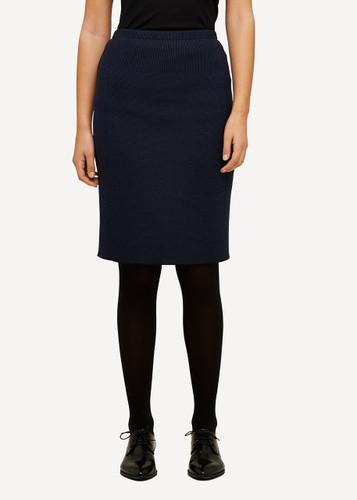 Ester Oleana Short Knitted Skirt, 321W Navy Blue