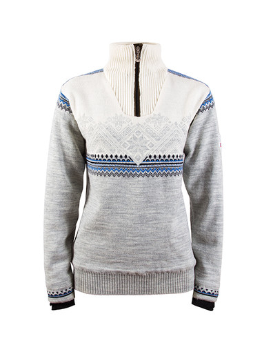 Dale of Norway Glittertind Windstopper Sweater, Ladies - Light Charcoal/Navy/Cobalt/Off White, 92981-E