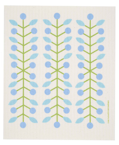 Swedish Dishcloth - Berry Branch, Blue