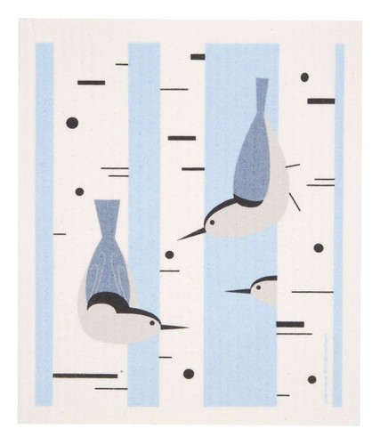 Swedish dish cloth, Nuthatch design