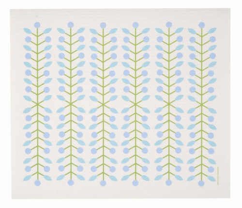 Swedish drying mat, Blue Berry Branch design