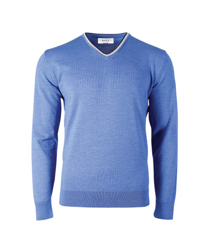 Dale of Norway Kristian Sweater, Mens - Medium Blue Mel/Light Grey/Off White Mel/Navy Mel, 93131-H