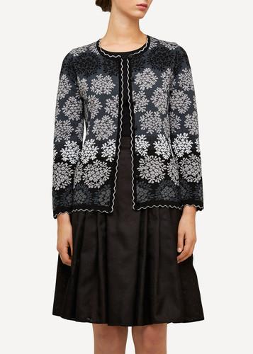 Freja Oleana Medium Length Cardigan, Flowers, 329O Black
