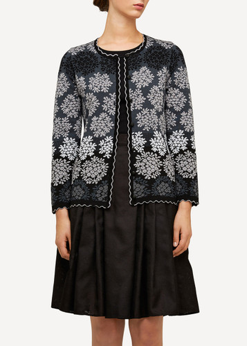 Freja Oleana Medium Length Cardigan, Flowers, 329O Black