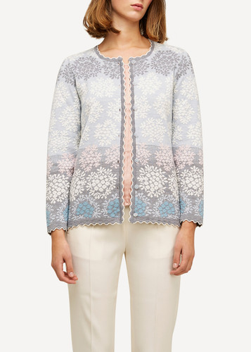 Freja Oleana Medium Length Cardigan, Flowers, 329Q Light Blue