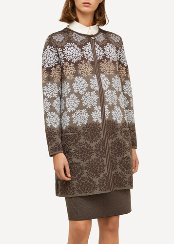 Anne Oleana Long Length Cardigan, Flowers, 330H Brown