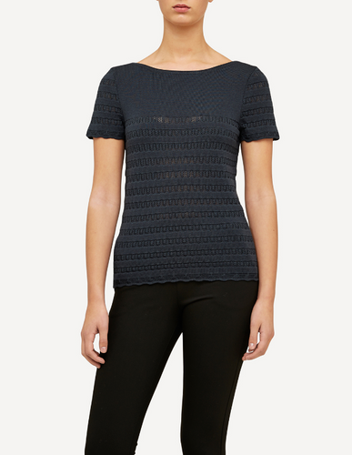 Molly Oleana Short Sleeve Top with Lace Pattern, 309D2 Grey