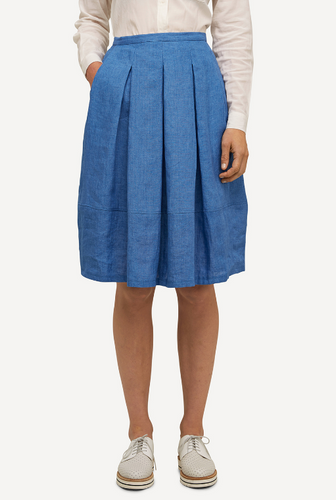 Emma Oleana Short 100% Linen Skirt, 88F Blue