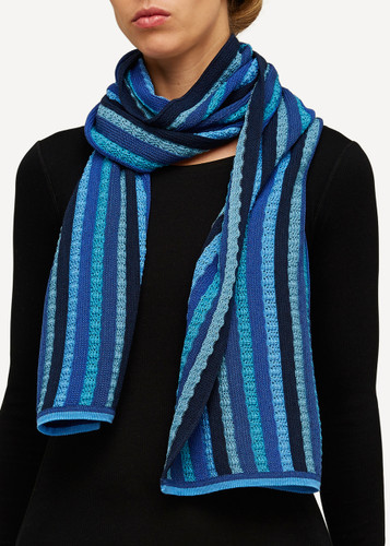 Else Oleana Striped Shawl, 323F Blue
