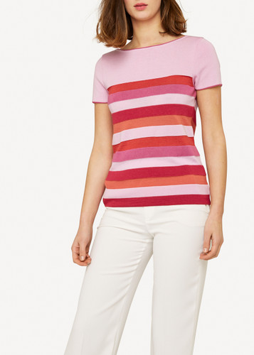 Juliette Oleana Short Sleeve Top with Wide Stripes, 310V Pinks