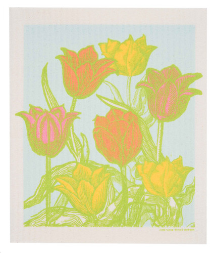 Swedish Dishcloth - Botanical Tulip Garden