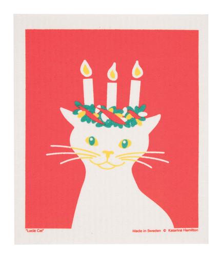 Swedish Christmas Dishcloth - Lucia Cat