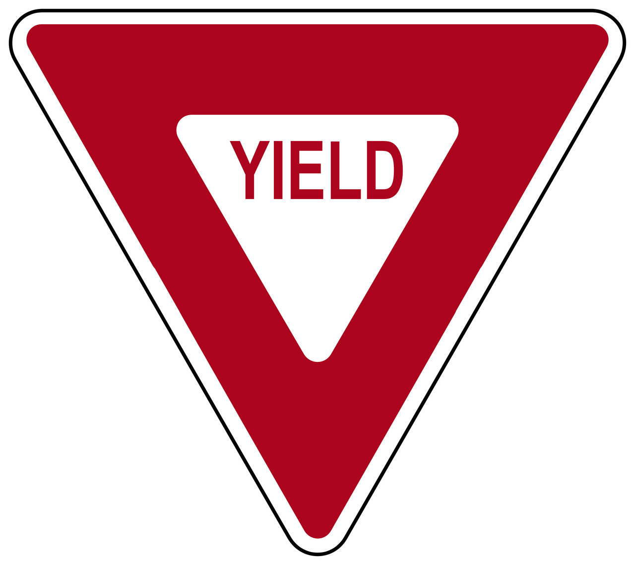 Triangle Yield Sign Red And White Yield Sign