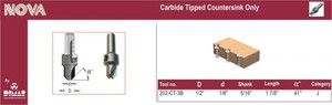 Carbide Countersink for 8 Screws, use with 1/8 D