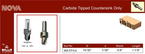 Carbide countersink for 10, 11 Screws, use with