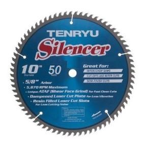 "Tenryu 10"" Silencer 50T, 5/8,.110 Kerf  ATAF Raker/Planer Blade"