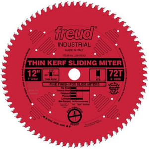"12"" 72 Tooth ATB Thin Kerf Sliding Miter Saw Blade with 1"" Arbor"