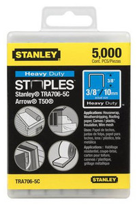 Stanley Hand Tools TRA706-5C  5000-Quantity 3/8-Inch Leg 3/8-Inch Crown .050-Inch x.022-Inch Gauge Heavy Duty Staples
