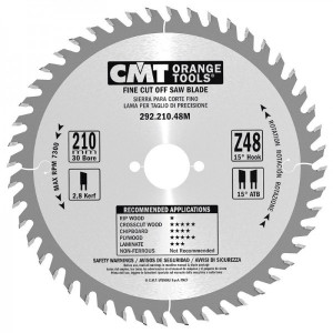 CMT Orange Tools CMT-29221048M  Fine-Cut Circular Saw Blade - 210mm x 30mm Bore - 48-tooth