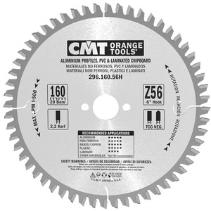 CMT Orange Tools CMT-29616056H  Laminate & Non-Ferrous Metal Circular Saw Blade - 160mm x 56-tooth, 20mm Bore