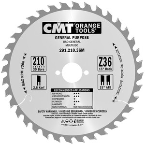 CMT Orange Tools CMT-29121036M  General Purpose For Festool 210 MM x36 30 MM Bore