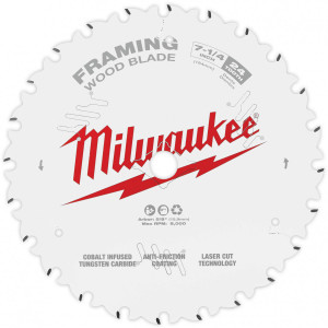 "Milwaukee 48-40-0720  7-1/4"" 24 Tooth Framing Circular Saw Blade"