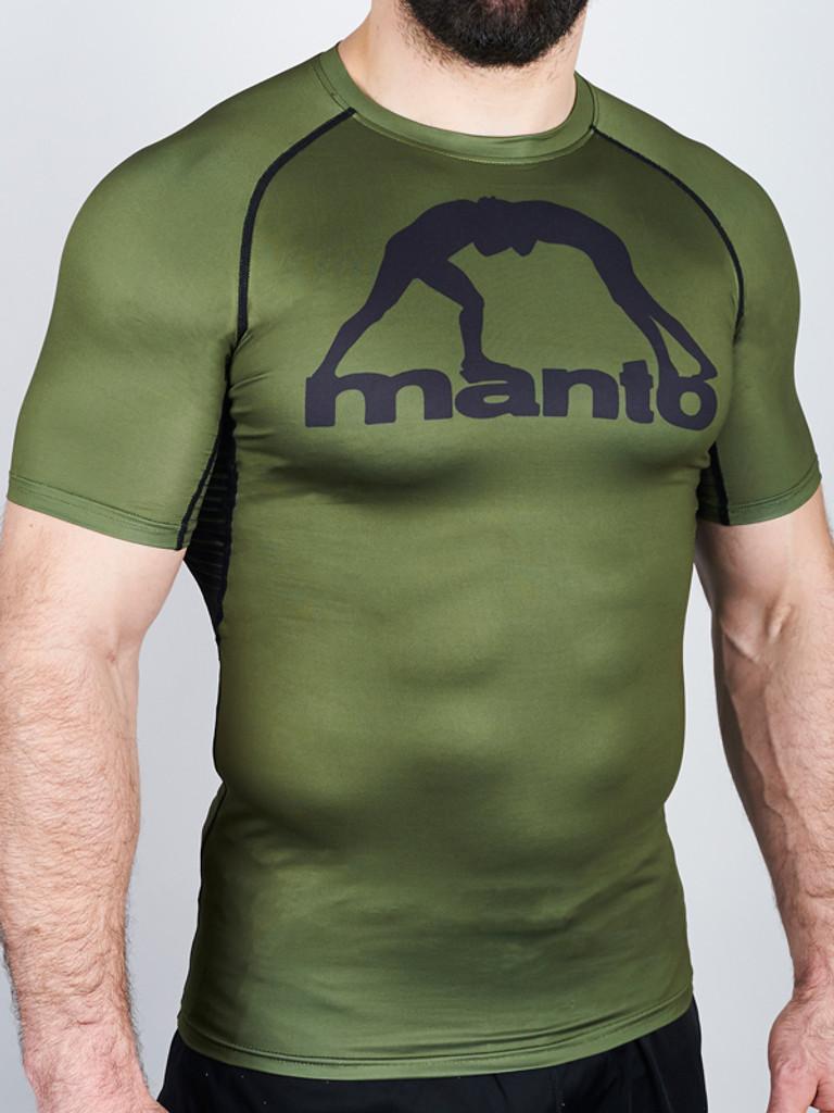 """MANTO """"LOGO"""" RASHGUARD v3 Olive Short Slv"""