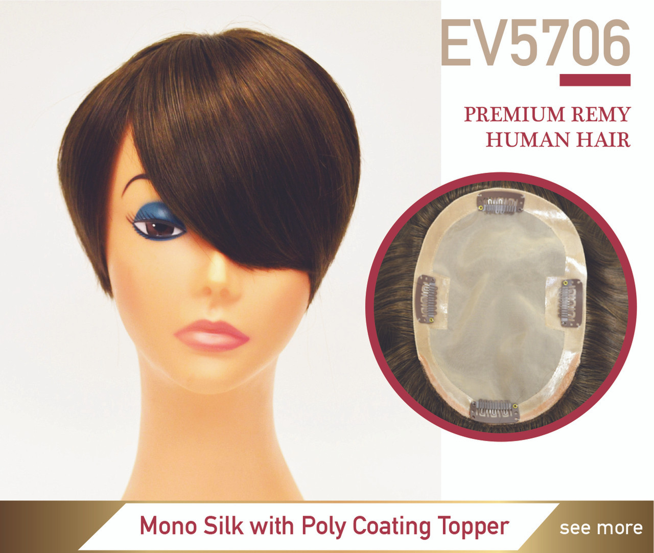 Hair Toppers Clip On Hairpieces Premium Hair Ev5706