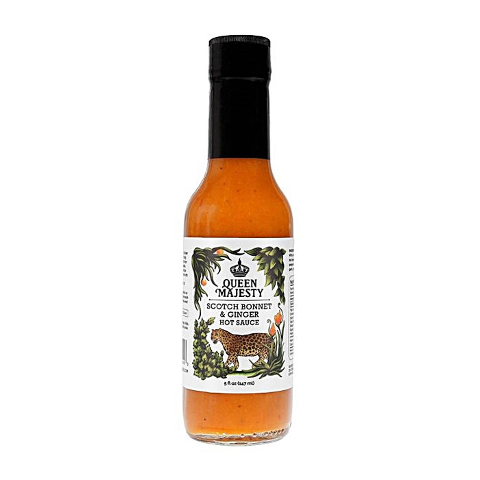 Queen Majesty Scotch Bonnet & Ginger Hot Sauce as seen on Hot Ones and available online at Pepper Explosion hot sauce store