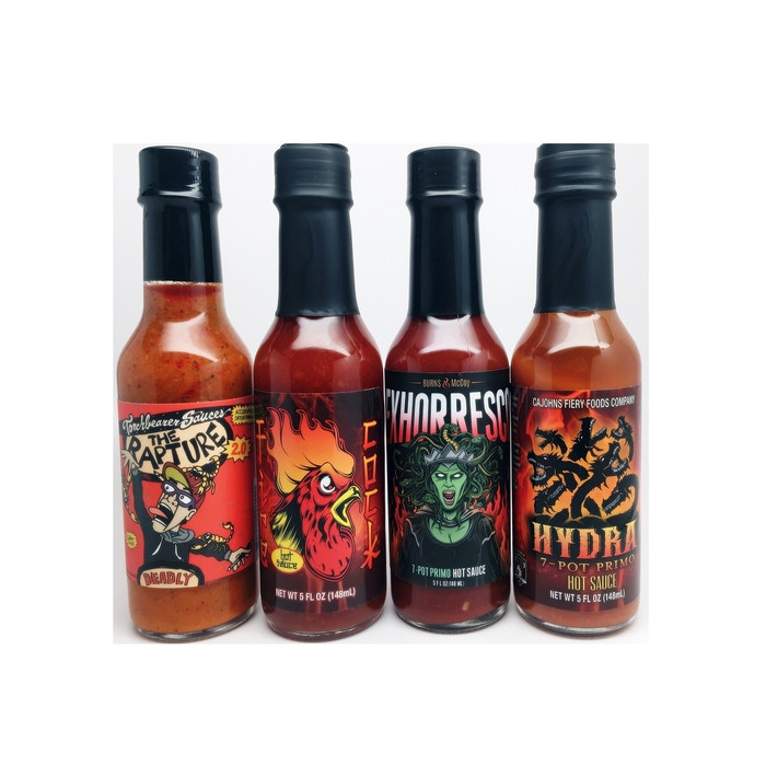 Ultra Heat Hot Sauce Collection containing Rapture, Hydra, Exhorresco and Fire Cock