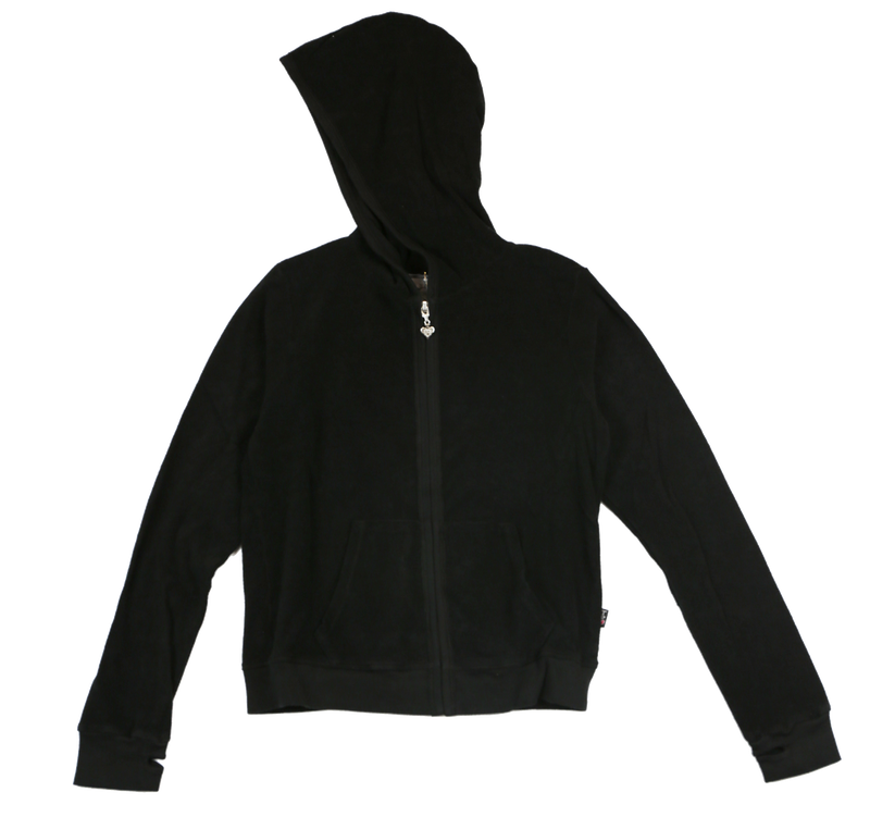 BLACK TERRY CLOTH COTTON HOODED ZIP JACKET WITH THUMBHOLE