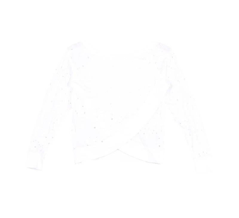 WHITE JERSEY COTTON SLUB (HOLEY) LONG SLEEVE CROSS BACK (BACKVIEW)