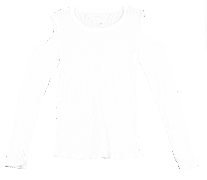 WHITE LONG SLEEVE THERMAL MODAL LYCRA CUT SHOULDER WITH THUMBHOLE