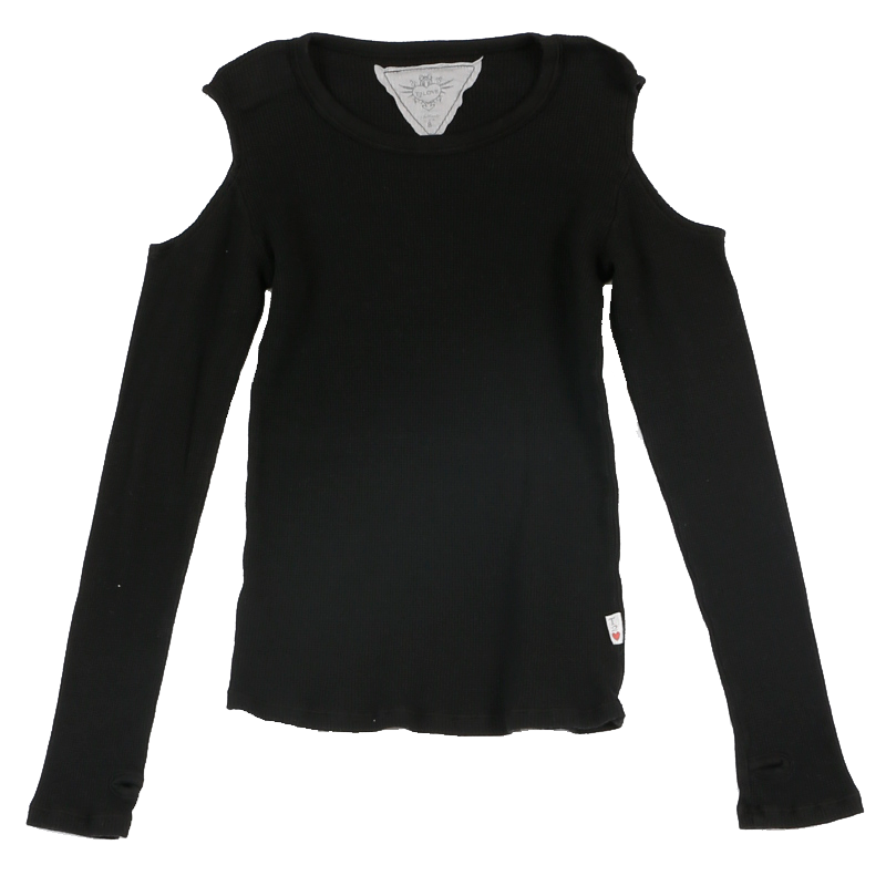 BLACK LONG SLEEVE THERMAL MODAL LYCRA CUT SHOULDER WITH THUMBHOLE